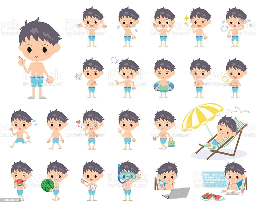 boy blue Swimwear style vector art illustration