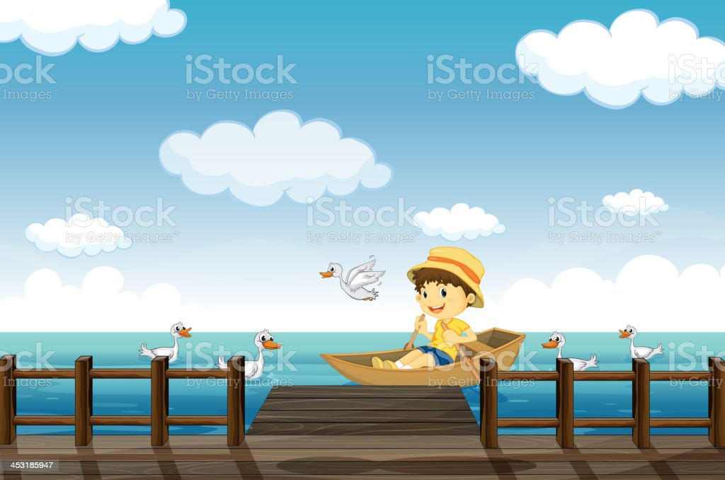 boy boating royalty-free stock vector art