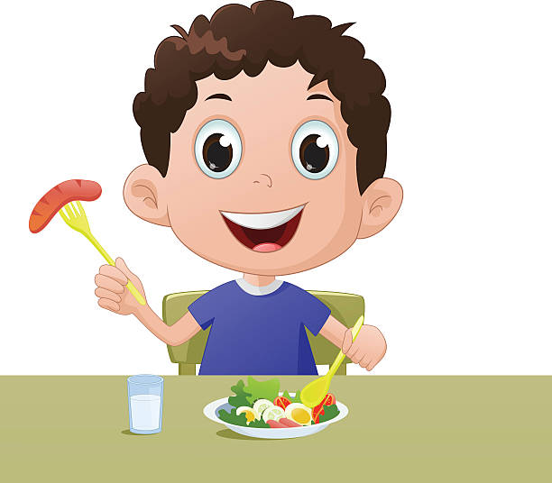 Best Boy Eating Breakfast Illustrations, Royalty-Free ...