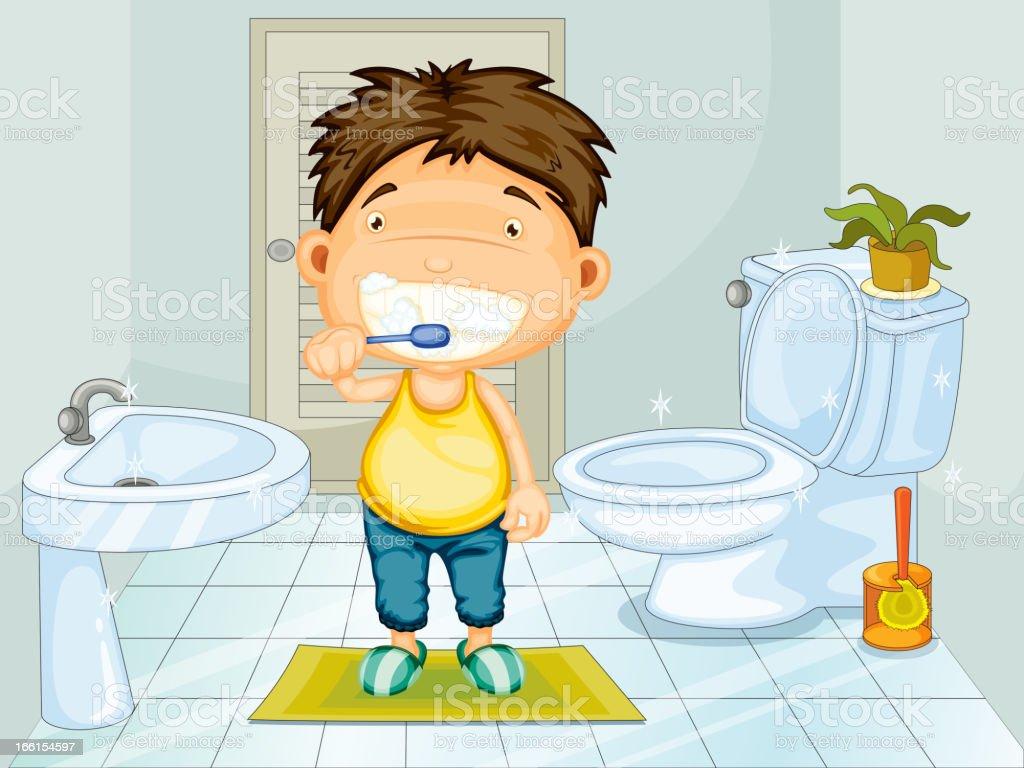 Boy brushing his teeth royalty-free boy brushing his teeth stock vector art & more images of basin - montana