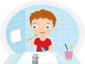 boy brushing teeth in the bathroom vector illustration