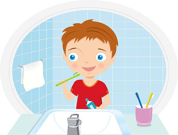 boy brushing teeth in the bathroom vector illustration - spiegelfliesen stock-grafiken, -clipart, -cartoons und -symbole