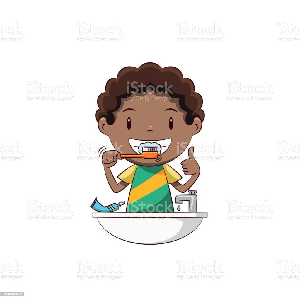Boy brushing teeth vector art illustration
