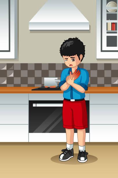 ilustrações de stock, clip art, desenhos animados e ícones de boy burned his hand in the kitchen - burned cooking