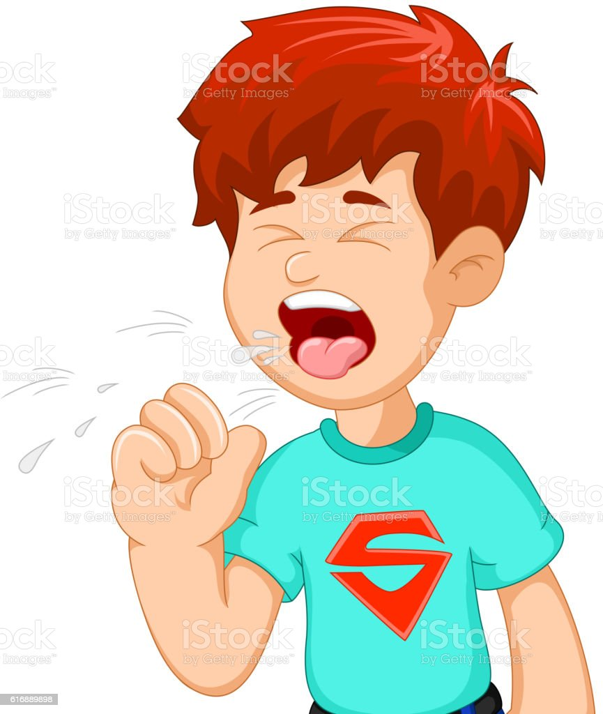boy cartoon coughing for you design vector art illustration