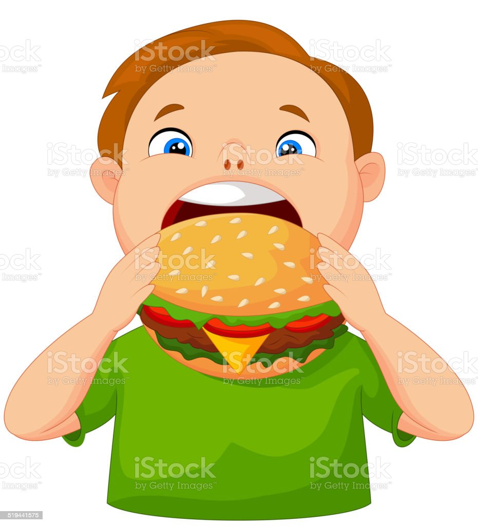 Gar on de dessin anim manger un hamburger stock vecteur for Salle a manger dessin anime
