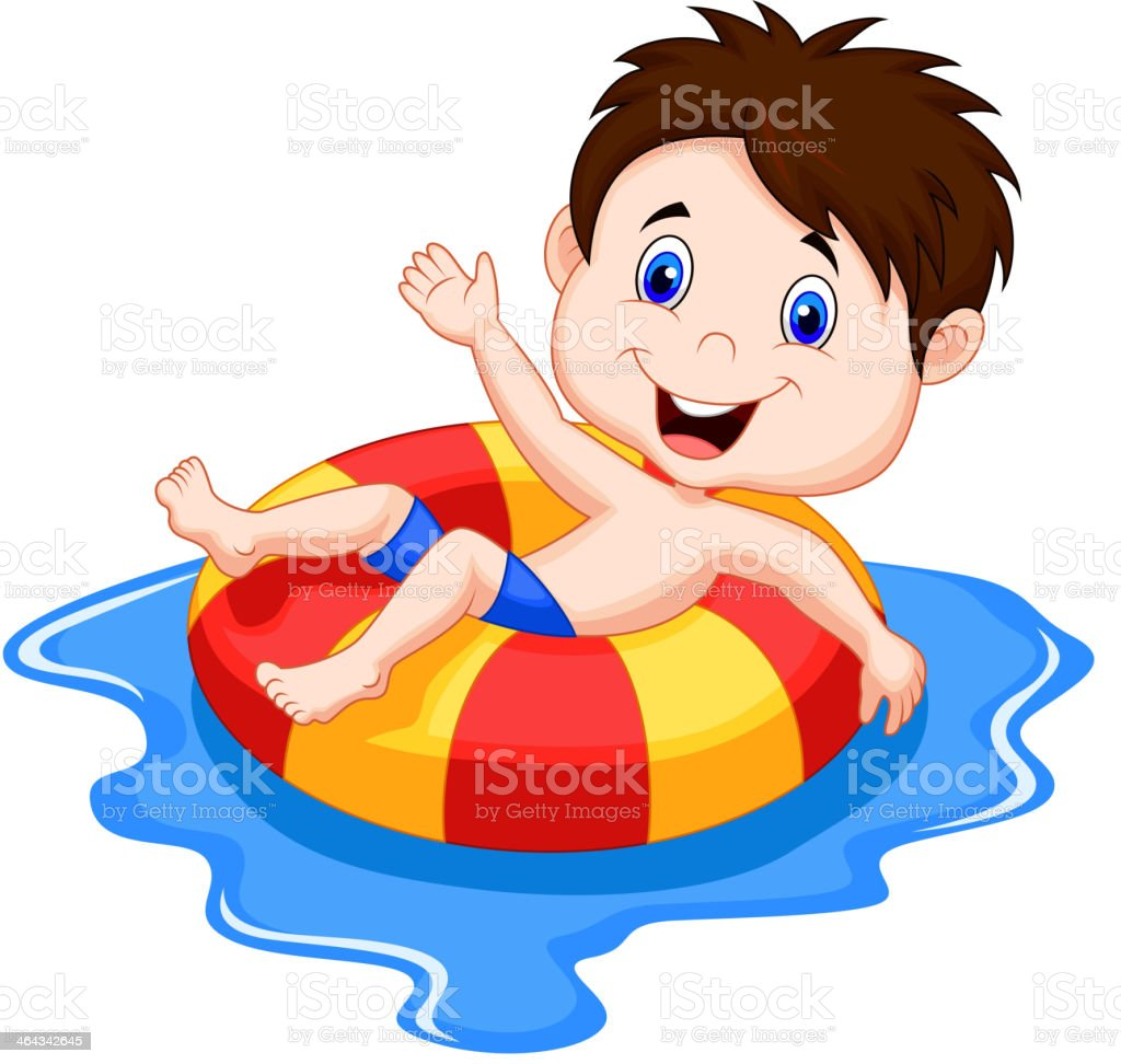 Boy cartoon floating on an inflatable circle in the pool vector art illustration