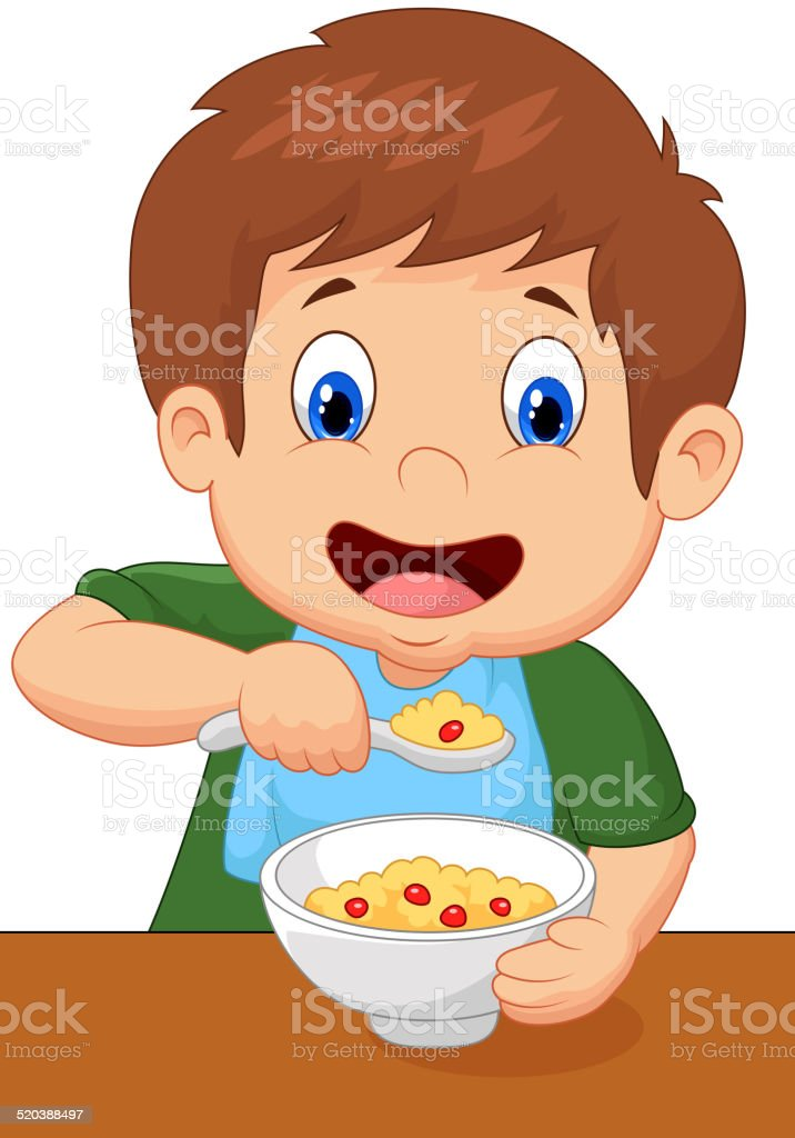 Boy cartoon is having cereal for breakfast vector art illustration