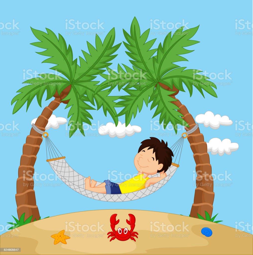 Garçon en dessin animé se détendre dans un hamac - clipart vectoriel de Enfant libre de droits