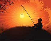 Boy Catching the sun on a nature background.