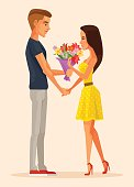 Boy character gives gift bouquet flowers to girl character. First date. Vector flat cartoon illustration