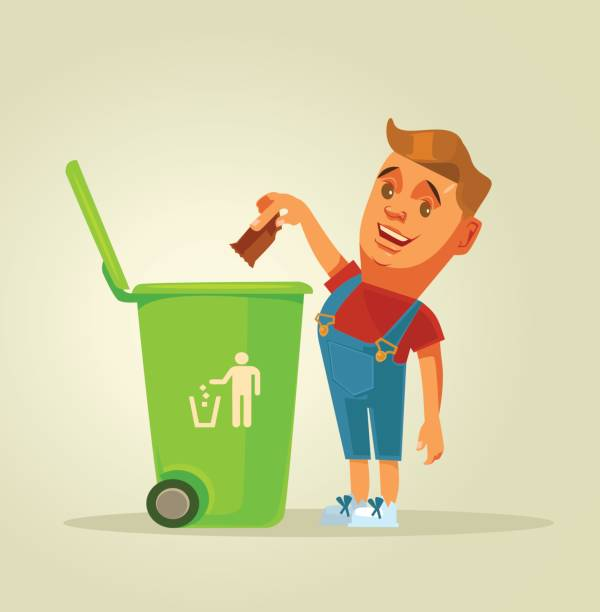 boy character throws garbage in trash - child throwing garbage stock illustrations, clip art, cartoons, & icons