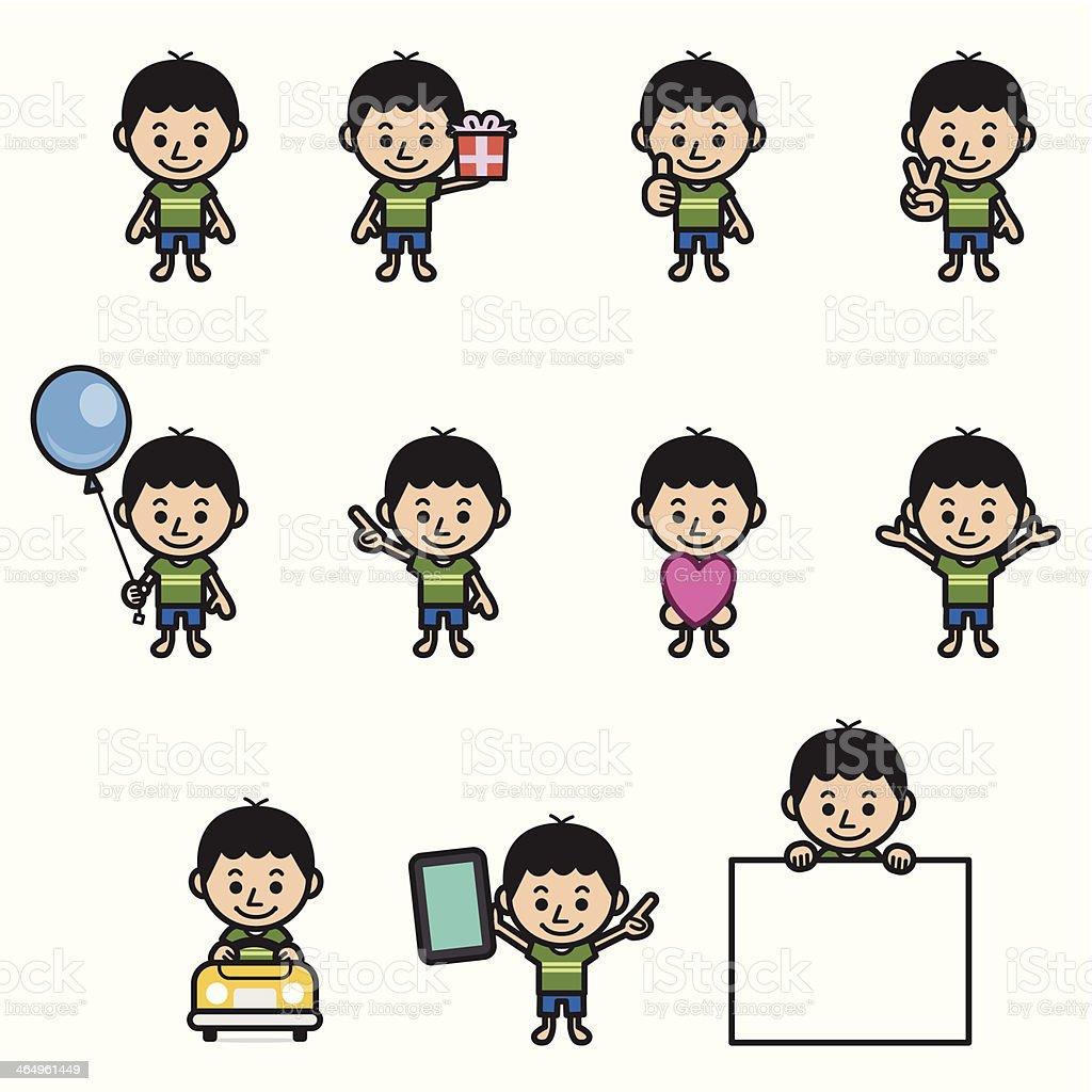 Boy character various poses royalty-free stock vector art