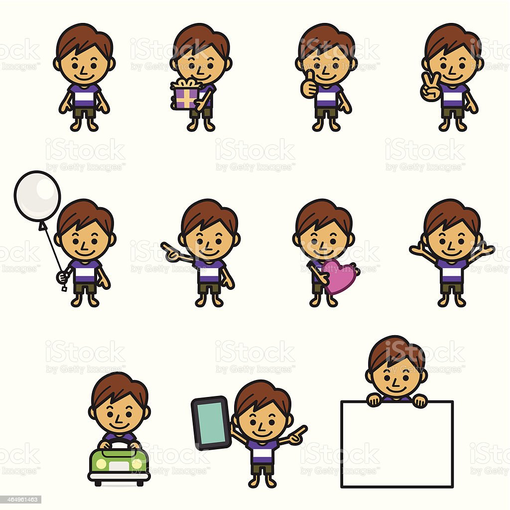 Boy character various poses royalty-free stock vector art