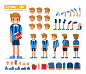 School boy character constructor for animation. Flat style vector illustration isolated on white background.