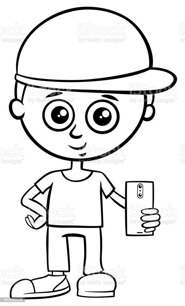 Ilustración de Carácter De Niño Con Libro De Color De Teléfono ...