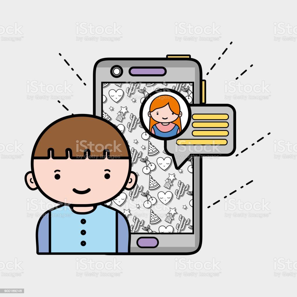 boy chatting with girl in whatsapp chat bubble stock vector art