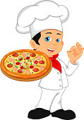 vector illustration of boy chef cartoon with pizza