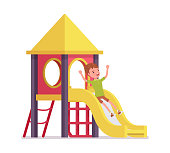 Boy child 7-9 years old, active school age kid sliding down. Active schoolboy enjoys fun and entertainment playing on playground. Vector flat style cartoon illustration isolated on white background