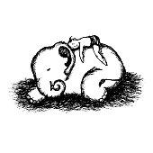 boy child and baby elephants vector hand drawn illustration design