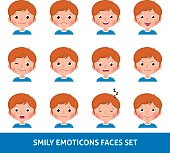 Boy child cute emoji, set smily emoticons faces