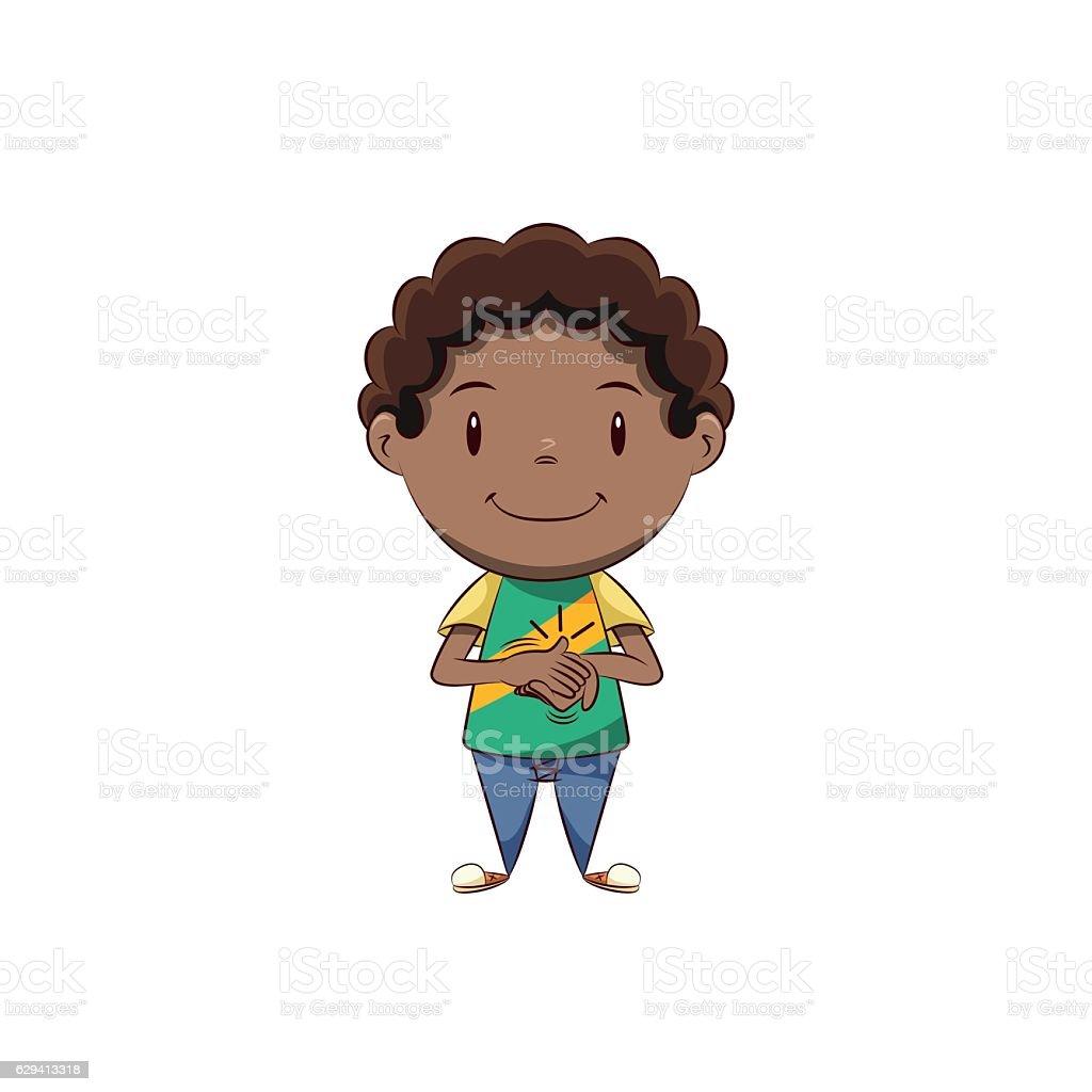 Boy clapping vector art illustration