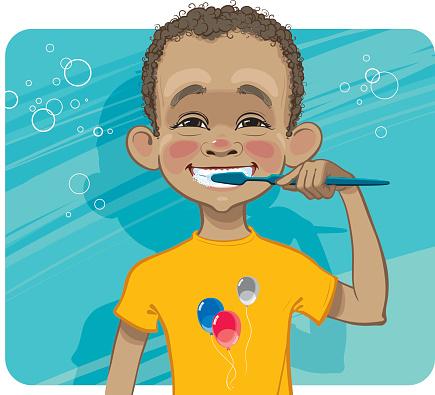 Boy cleaning his teeth.