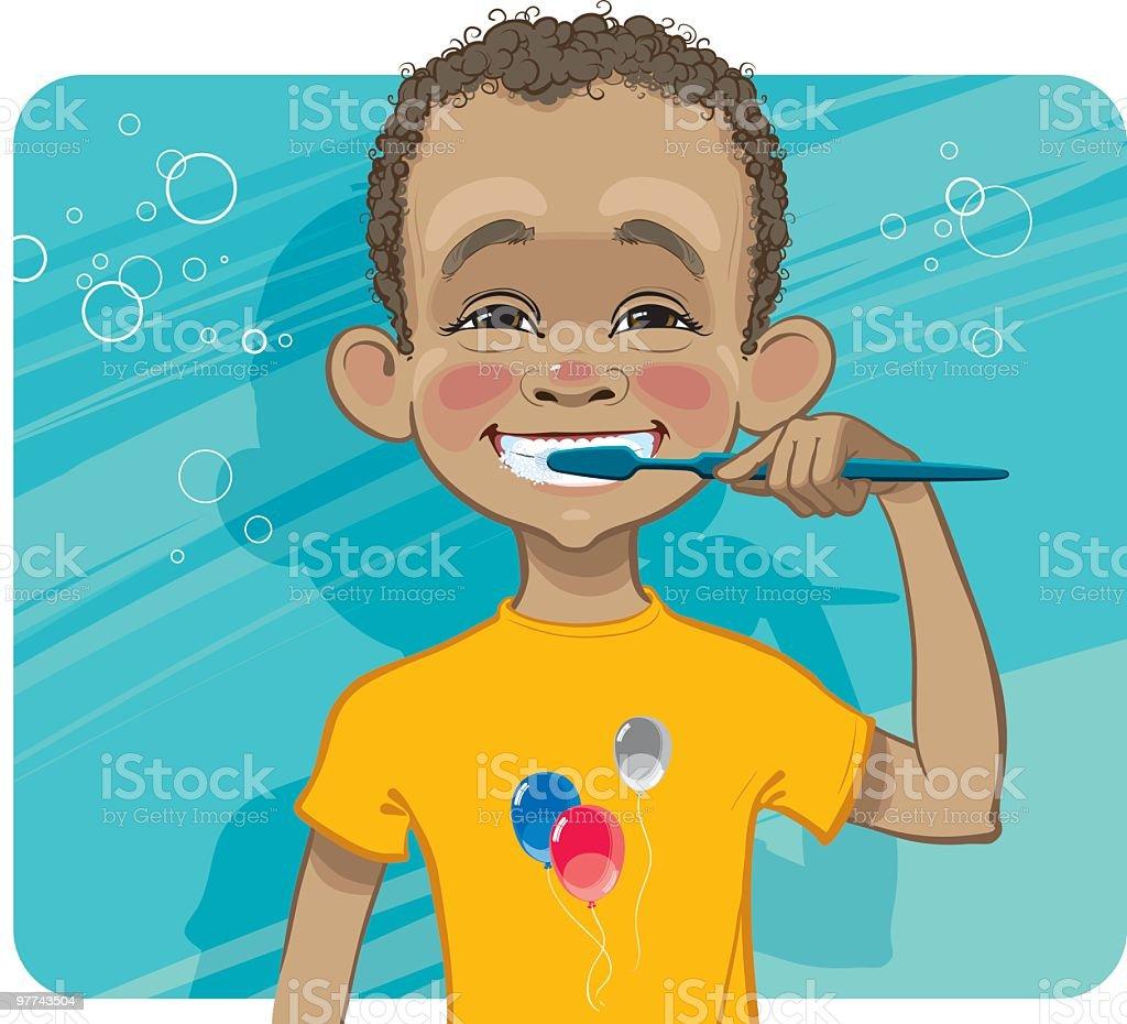 Boy cleaning his teeth. vector art illustration