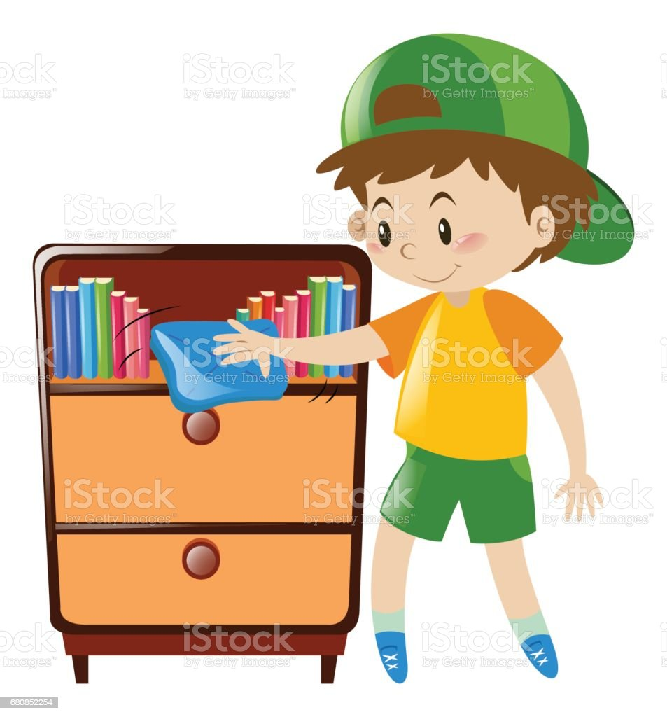 Boy cleaning shelf full of books royalty-free boy cleaning shelf full of books stock vector art & more images of activity