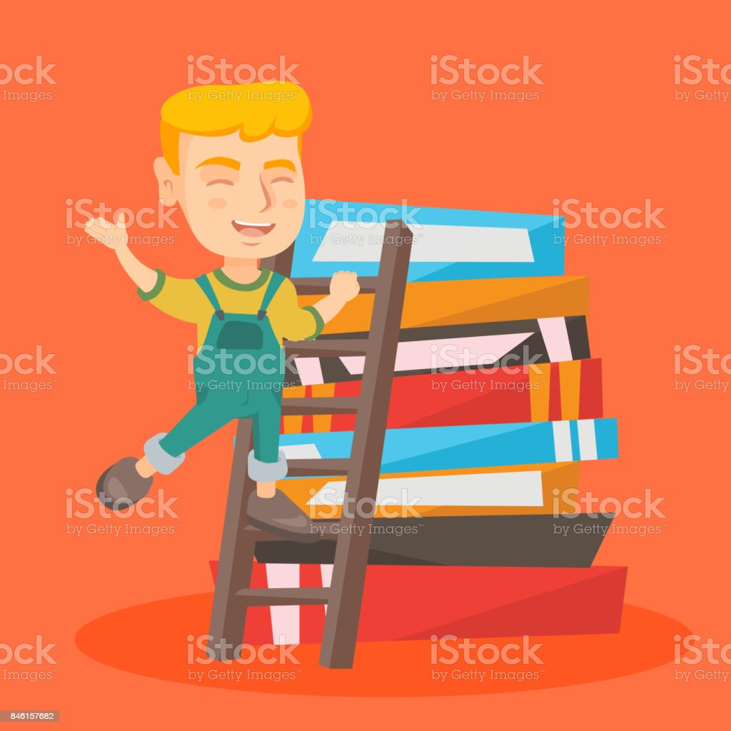 Boy climbing up a ladder on the pile of books vector art illustration