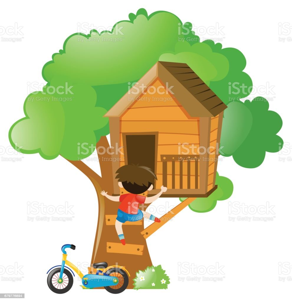royalty free many kids playing in the treehouse clip art vector rh istockphoto com tree house clipart images magic tree house clipart