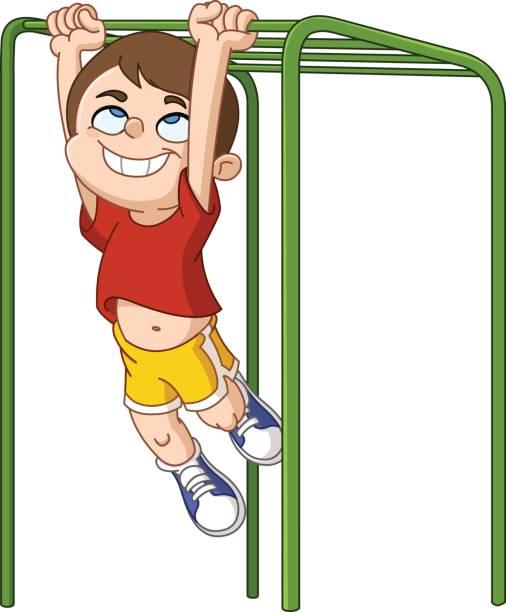 boy climbs monkey bars - monkey bars stock illustrations, clip art, cartoons, & icons