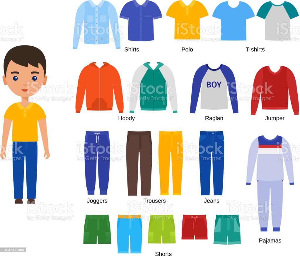 Clothes Design Boy | Boy Clothes Vector Illustration Baby Clothing Set In Flat Design