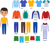Boy clothes. Vector illustration. Baby clothing set in flat design.