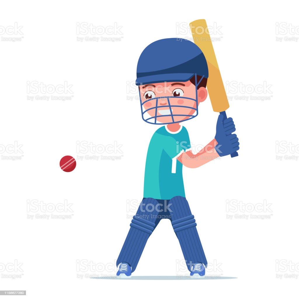 Boy in cricket player in sports uniform hits the ball. Small child in...