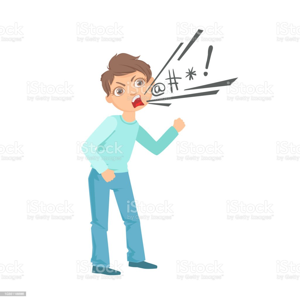 boy cursing teenage bully demonstrating mischievous uncontrollable  delinquent behavior cartoon illustration stock illustration - download  image now - istock  istock