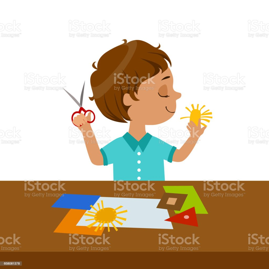 Boy Cutting Sun Shape For Paper Applique, Elementary School Art Class Vector Illustration royalty-free boy cutting sun shape for paper applique elementary school art class vector illustration stock vector art & more images of art