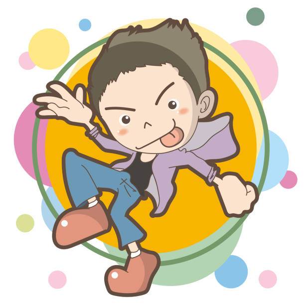 Boy dancing image Vector Illustration material for culture suave stock illustrations