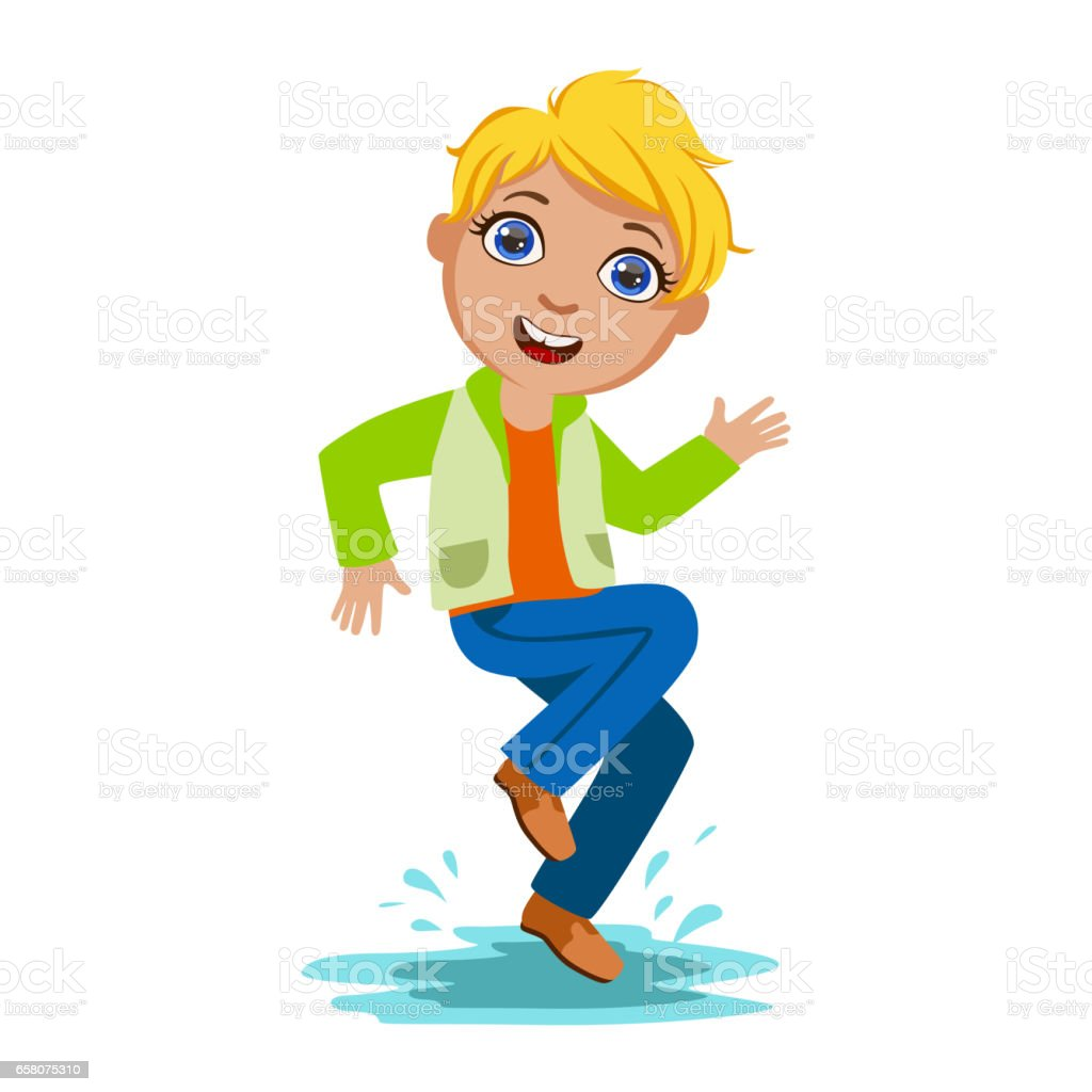 Boy Dancing Splashing Water, Kid In Autumn Clothes In Fall Season Enjoyingn Rain And Rainy Weather, Splashes And Puddles royalty-free boy dancing splashing water kid in autumn clothes in fall season enjoyingn rain and rainy weather splashes and puddles stock vector art & more images of boys