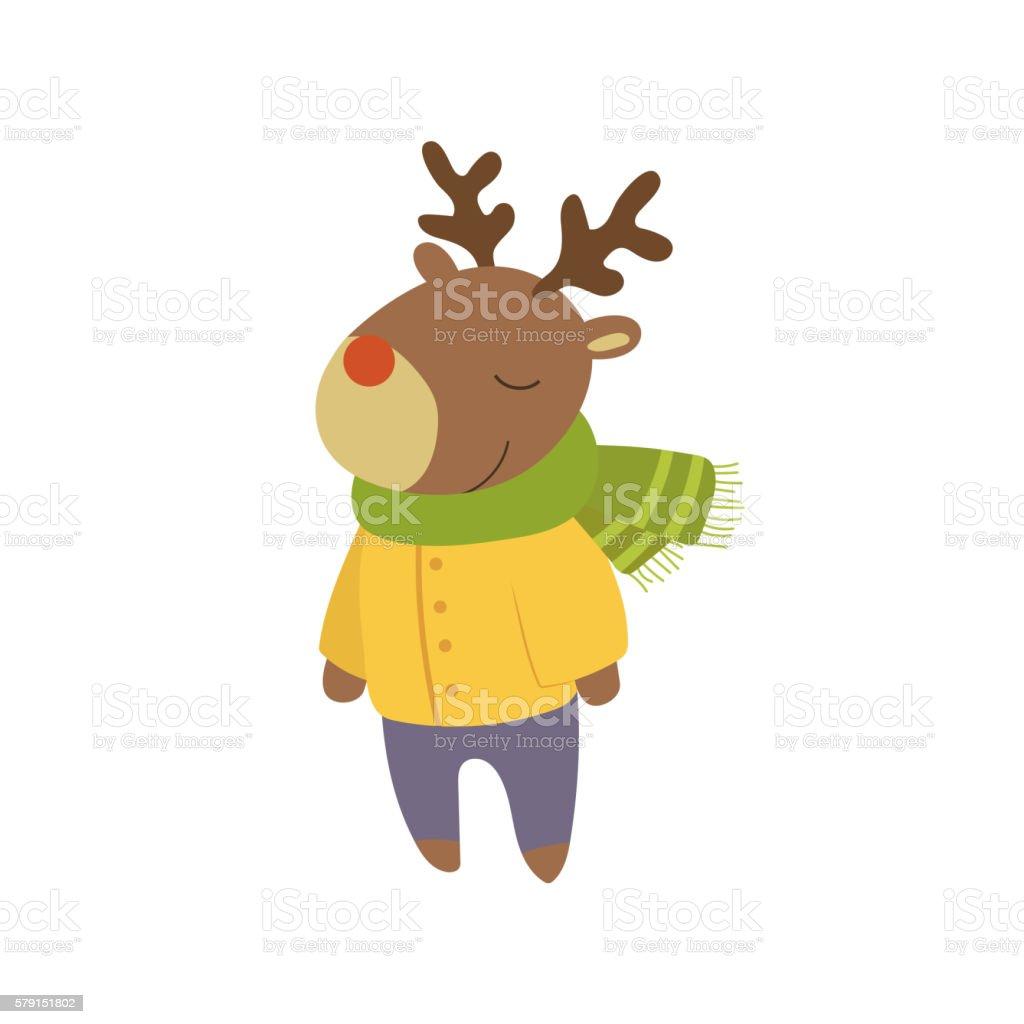 Boy Deer In Yellow Warm Coat Childish Illustration vector art illustration