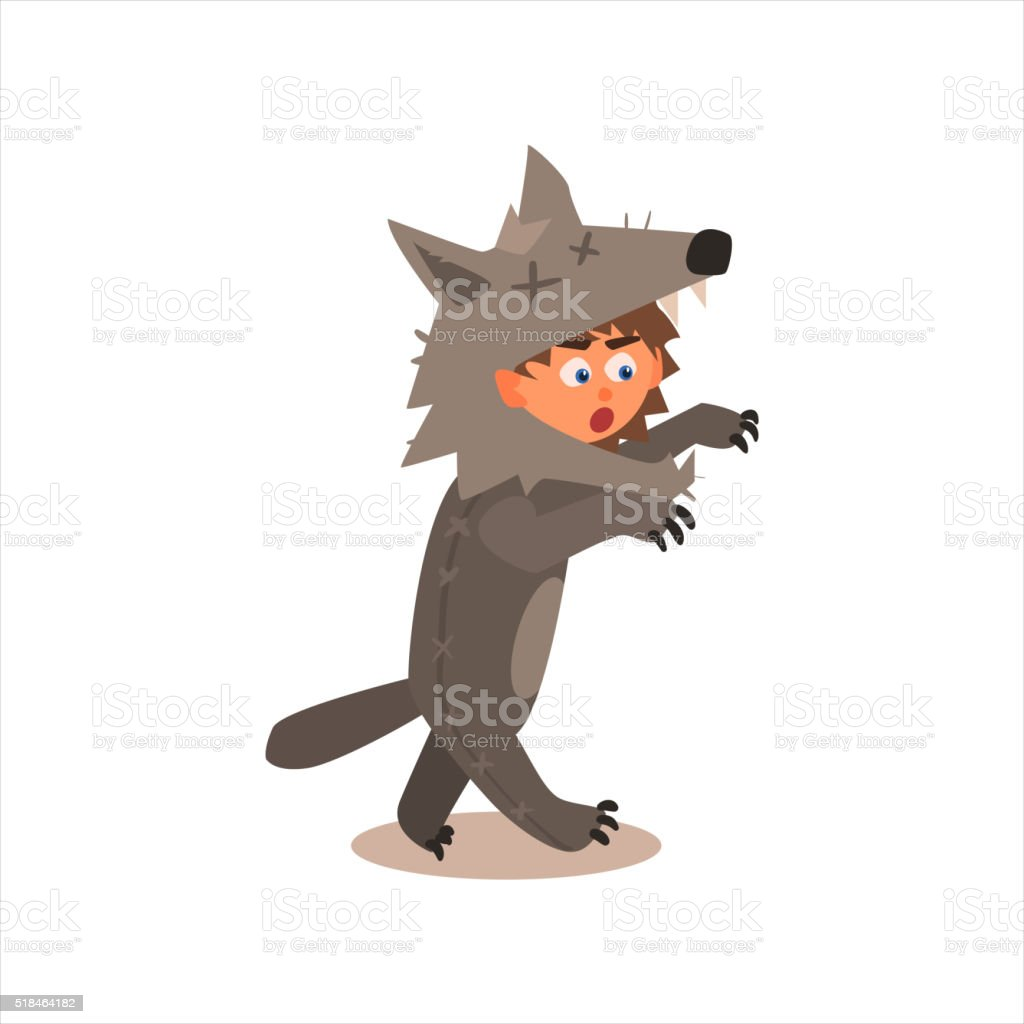 Boy Desguised As Wolf vector art illustration