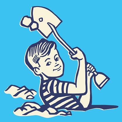 Boy Digging Hole