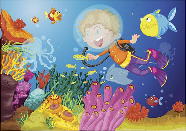 illustrazioni stock, clip art, cartoni animati e icone di tendenza di ragazzo, immersioni subacquee - frogman