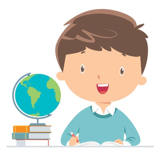 宿題をしている少年 - 作文の授業点のイラスト素材/クリップアート素材/マンガ素材/アイコン素材