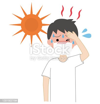 istock Boy doing mask with heat stroke 1251502194