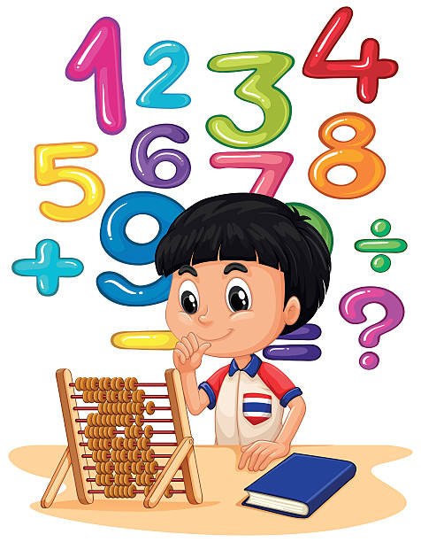 boy doing math with abacus - math class stock illustrations, clip art, cartoons, & icons