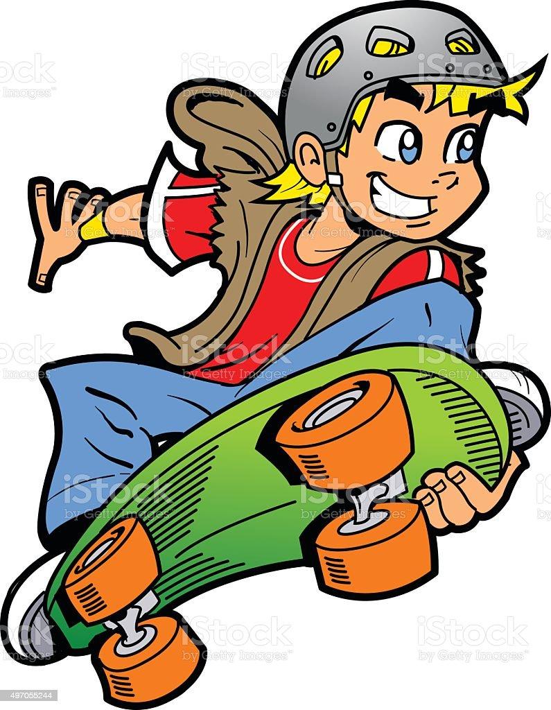 Boy Doing Skateboard Jump vector art illustration