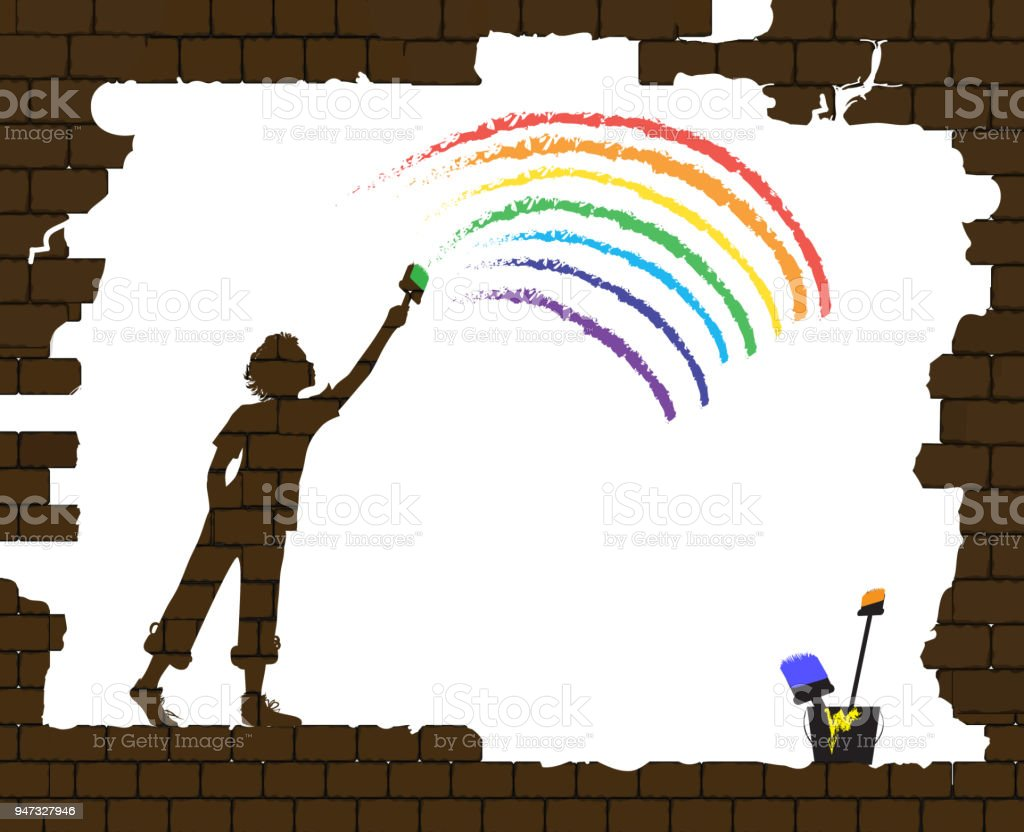 boy draws a rainbow on the old broken brick wall, life after war, new life after disaster idea, graffiti, vector art illustration