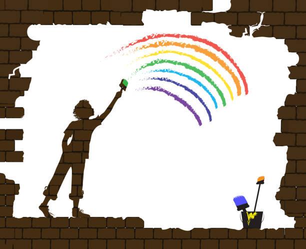junge zieht einen regenbogen auf die alte mauer gebrochen, das leben nach dem krieg, neues leben nach der katastrophe idee, graffiti, - kindersprüche stock-grafiken, -clipart, -cartoons und -symbole