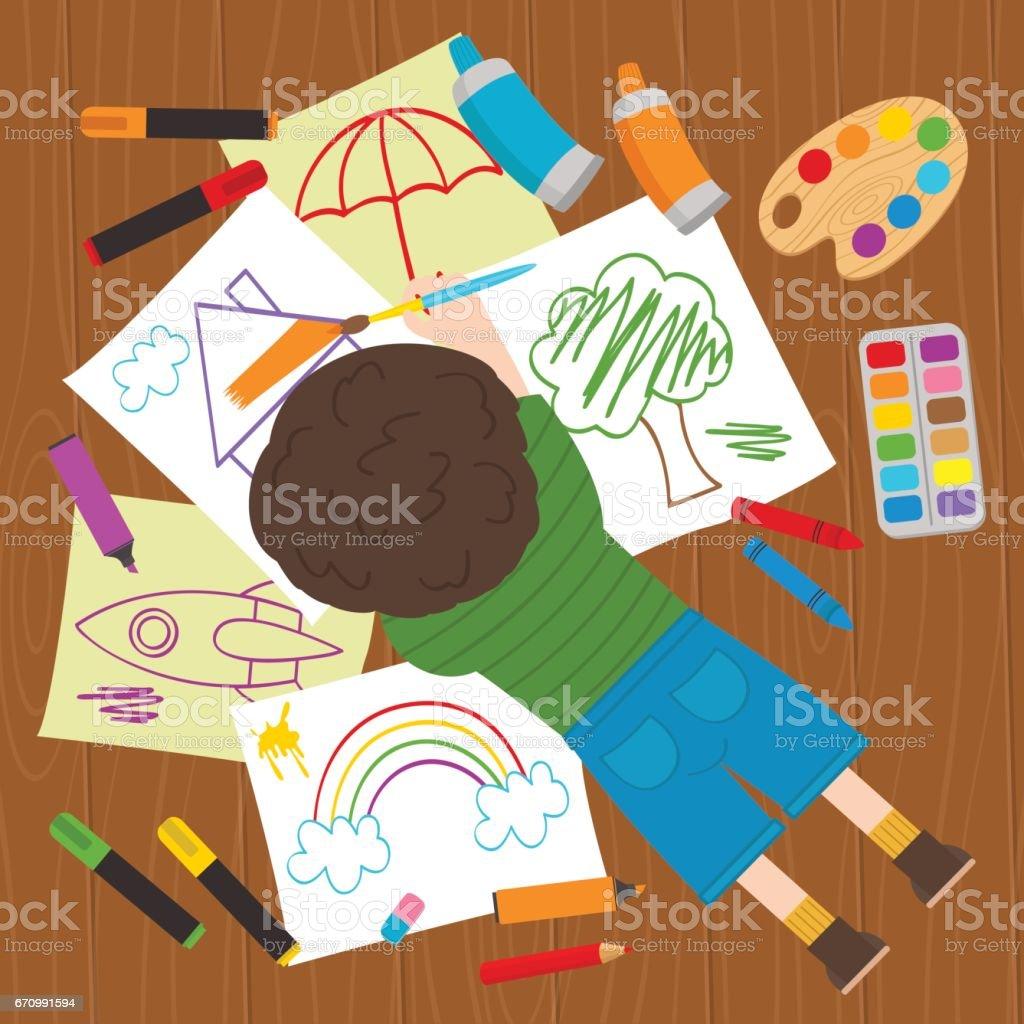 boy draws on the floor vector art illustration